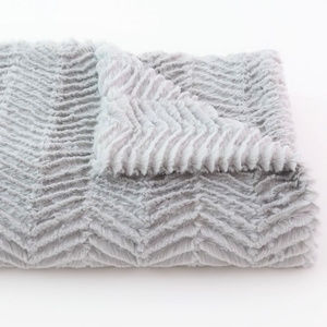 Tourance Minky Silver Gray Chevron Minky Throw